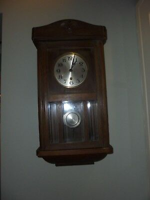 Antique/vintage original wooden cased pendulum wall clock