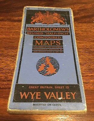 Bartholomew's Revised Half Inch Contoured Map - Wye Valley - 1940s/50s