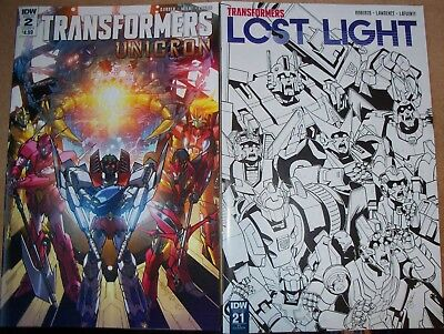 Transformers Unicron 2 and Lost Light 21 RI Cover IDW Comics Robot action