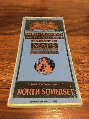 Bartholomew's Revised Half Inch Contoured Map - North Somerset - 1940s/50s