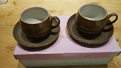 Denby Greystone Cups And Saucers X 2