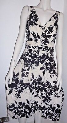 HOBBS Abstract Floral Print Dress Silk 8 Worn Once