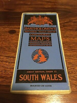 Bartholomew's Revised Half Inch Contoured Map - South Wales - 1940s/50s