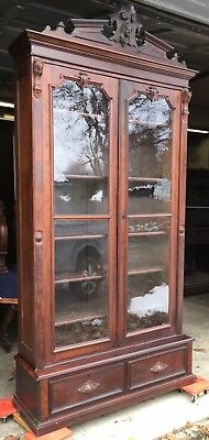 Renaissance Walnut And Burl 2 Door Carved Bookcase