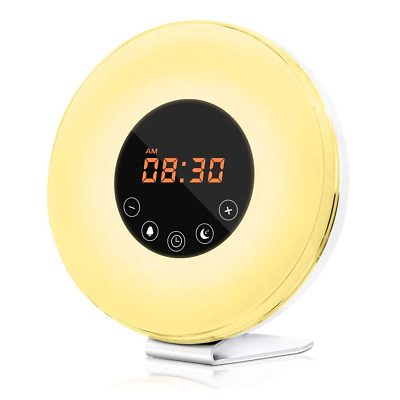 Wake Up Light Alarm Clock with Sunrise & Sunset Simulator, 6 Nature Sound NEW US
