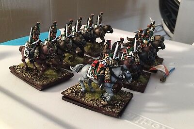 28mm  Napoleonic French Miniatures, 27th Dragoons 12 Mounted Men Prof Painted