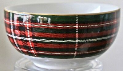 222 Fifth Wexford Green Soup Cereal Bowl 5 3/4Th Plaid Gold Trim New Porcelain