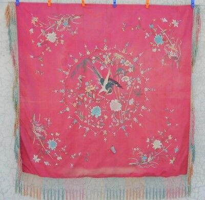 Beautiful Chinese Antique Hand Embroidery Silk Tapestry 117X115cm (X670)