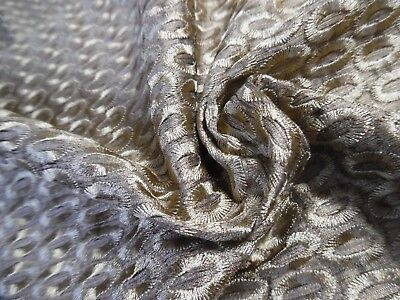 "EMBROIDERED SILK BROCADE SUITING~BRONZE~9""x27""~ DOLL FABRIC"