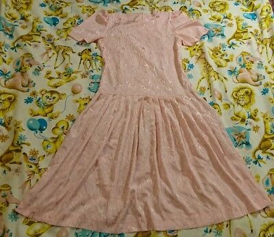 Vintage 80s Day dress Size 10-12 Baby pink, Pleated Skirt, Retro, Mod,