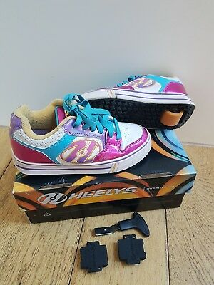 Heelys Size 1 Uk (Eur 33) Motion - White/Fuchia/multi - with Box, tool and caps