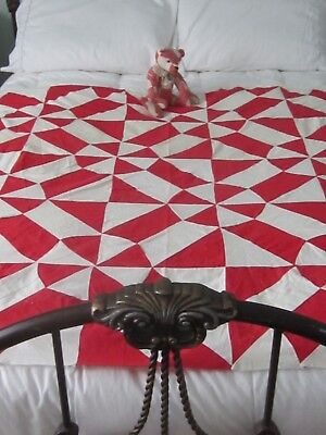 """In Time for Christmas Antique Turkey Red True Lovers Knot Quilt TOP 56X76"""""""