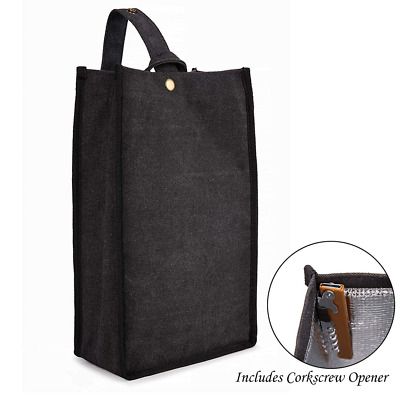 Portable 2 Bottle Wine Carrier Insulated Tote Bag Shoulder Corkscrew Opener NEW