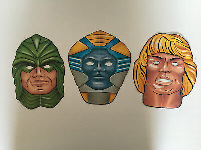 3x original MotU Papp-Masken 80er He-Man Skeletor +++ Masters of the Universe