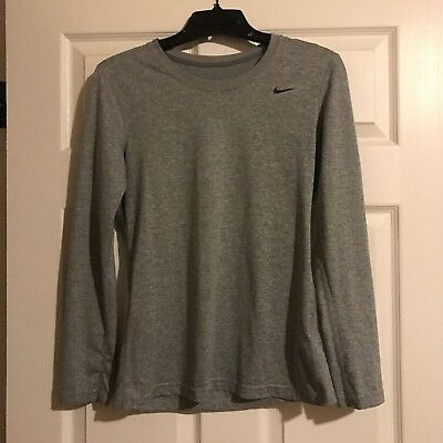 Nike Dry Women's Dri-Fit Knit Long Sleeve Running Top Heather Gray, Small