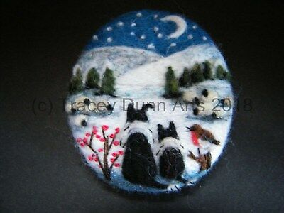 Handmade needle felted brooch  'Gwen,Pip and the Snowy Night'   by Tracey Dunn