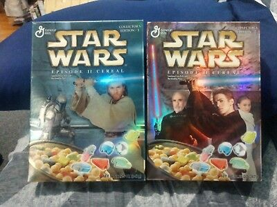 General Mills Star Wars Episode 2 Collectors Edition Cereal #1 And #2 Sealed