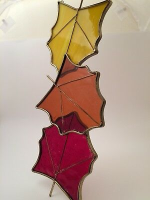 Autumn Fall Leaf Leaves Stained Glass Suncatcher