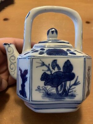 Blue And White Chinese Floral Teapot