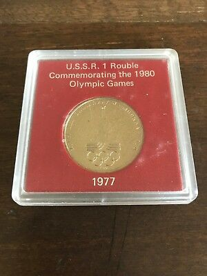 1977 USSR RUSSIA  1 ROUBLE 1980 OLYMPIC GAMES - PROOF LIKE Coin