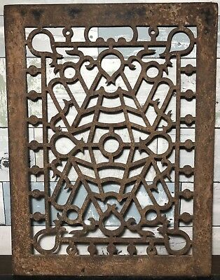Antique Vintage Art Deco Cast Iron Floor Wall Return Register Grate Vent