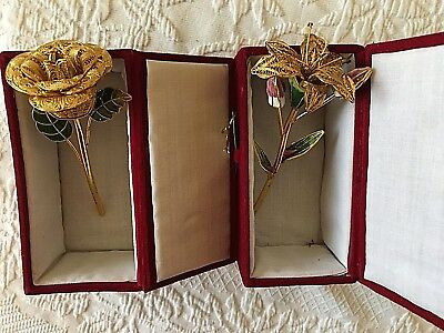 Pair Of Gold Cloissone Flowers -Lilly And Rose  New In Box