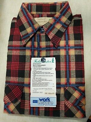 VTG SEARS FIELDMASTER Mens NWT Plaid Flannel Button Down Long Sleeve MED 15-15.5