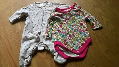 2 x Next baby items: 1 white babygrow with grey spots, 1 pink pattern vest