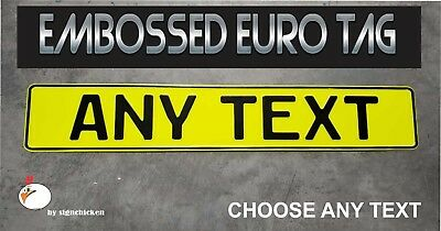 BMW German Eagle Euro European License Plate Embossed - ANY TEXT, NEON YELLOW