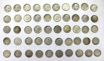 Lot of 50 Roosevelt Dimes, 90% Silver, Mixed Mints, Mixed Years, $5 Face Value
