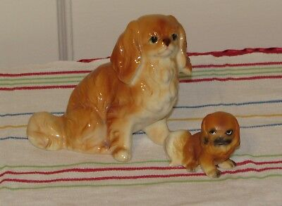 Vintage Pekingese Dog Figurines-2 Made in Japan Very Nice!