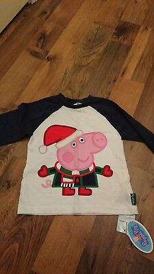 Baby Infant Boys George Peppa Pig Christmas Tshirts 18-24months