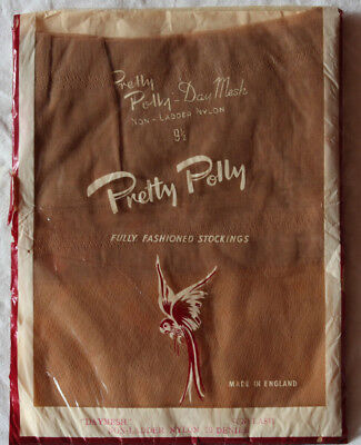 """Vintage Pretty Polly Fully Fashioned Day Mesh Nylon Stockings Sunflash Size 9½"""""""