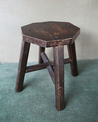 "Vintage Stool Stand Primitive, Four Mortised Splayed Legs, Pine Wood, 14"" Tall"