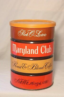Vintage Maryland Club Coffee Can Tin 1 Lb Empty