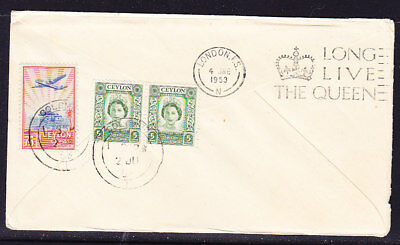 Ceylon 1953 QANTAS Coronation Colombo to London Flight Cover