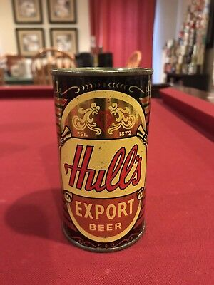 Hull's Export Flat Top Beer Can bottom opened new lid USBC 84-24
