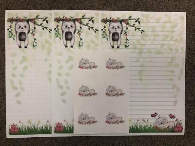 New Design* Super Cute SLOTH Stationery - Letter Writing Paper & Stickers Set
