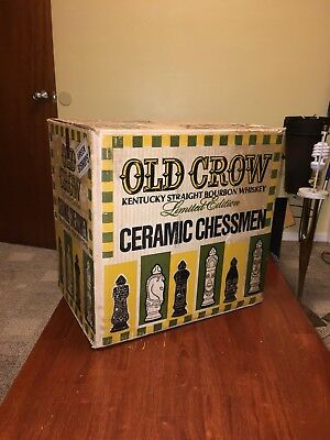 Vintage Old Crow Bourbon Whiskey Chessman Shipping Box Crate