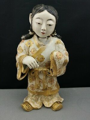 19th Old ANTIQUE JAPANESE Satsuma Figure of boy - Meiji Period -