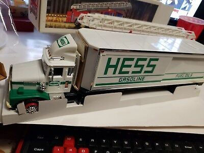 99c BFS - TWO lot 1986/87 Hess Toy Fire & Gasoline Truck Bank Original box