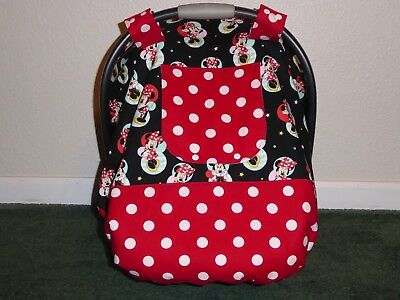 **MINNIE MOUSE** Fitted w/peekaboo opening Handmade Car Seat Canopy-Cover