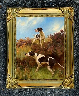 Fine Oleograph on Canvas of English Pointers on Point