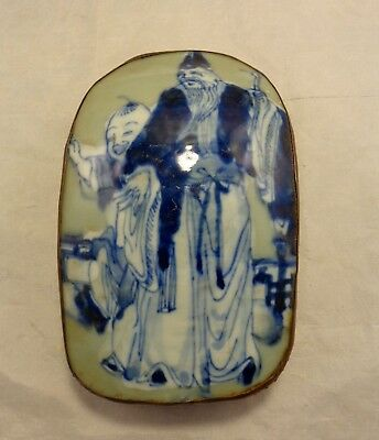 Vintage Hand Painted Chinese Asian Porcelain SHARD BOX Silver Plate Man Boy