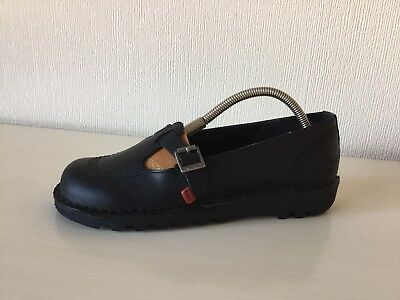 "Ladies Black Leather ""Kickers"" Flat Shoes Size Eur 41 Uk 8 Worn Once"