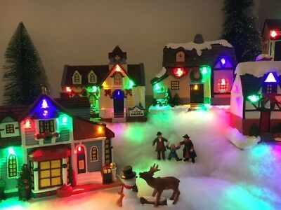 Christmas VIllage Houses with LED Lights - Set of 6 Houses