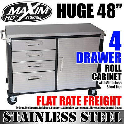 MAXIM HD 48 inch 4 Drawer Stainless Steel Top Roll Cabinet Garage ShedPI244ES