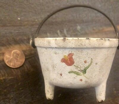 Antique Mini Handpainted Cast Iron 3 Footed Pot