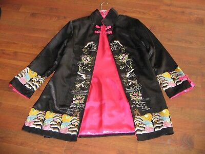 """Vtg Embroidered Silk Chinese Robe Jacket Asian XL Fine Detail 33 1/2"""" long"""