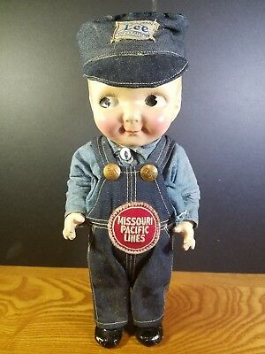 ORIGINAL 1950'S Composition BUDDY LEE DENIM ADVERTISING RAILROAD ENGINEER DOLL
